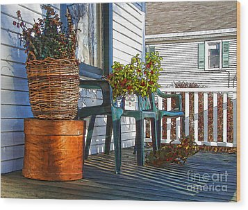 Basket Porch Wood Print by Betsy Zimmerli
