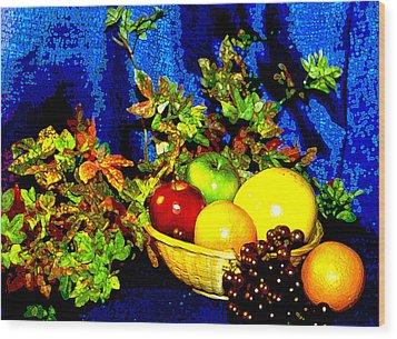 Basket With Fruit Wood Print by Nancy Mueller
