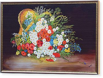 Basket With Summer Flowers Wood Print by Helmut Rottler