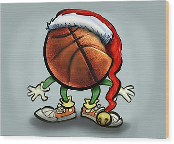 Basketball Christmas Wood Print by Kevin Middleton
