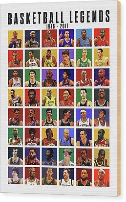 Basketball Legends Wood Print