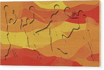 Basketball Players Abstract Wood Print by David G Paul