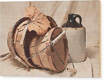 Baskets With Crock I Wood Print by Tom Mc Nemar