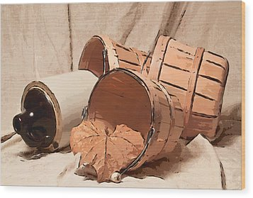 Baskets With Crock II Wood Print by Tom Mc Nemar