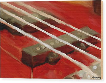 Bass Guitar Wood Print by Jeff Montgomery