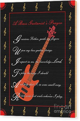 Bass Guitar_1 Wood Print by Joe Greenidge