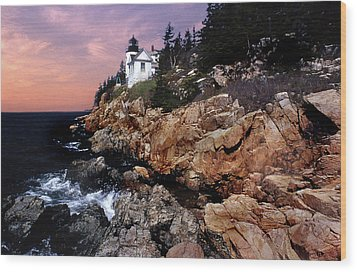 Bass Harbor Head Lighthouse In Maine Wood Print by Skip Willits
