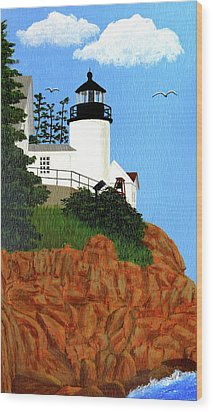 Bass Harbor Head Lighthouse Painting Wood Print by Frederic Kohli
