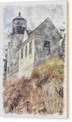 Bass Harbor Light Wc Wood Print by Peter J Sucy