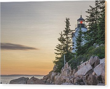 Bass Harbor Lighthouse Susnet  Wood Print