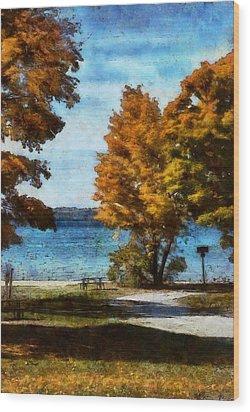 Bass Lake October Wood Print