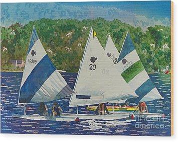 Bass Lake Races  Wood Print by LeAnne Sowa