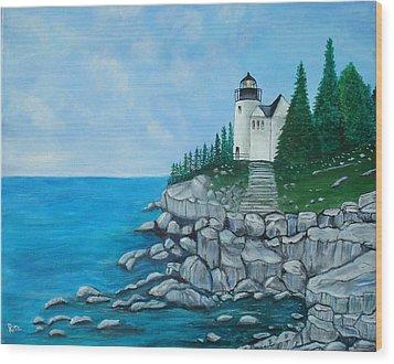 Bass Lighthouse Wood Print by Rita Tortorelli