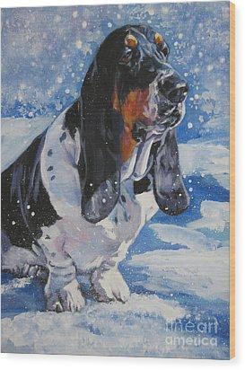 basset Hound in snow Wood Print by Lee Ann Shepard