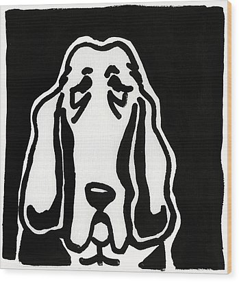 Wood Print featuring the drawing Basset Hound Ink Sketch by Leanne WILKES