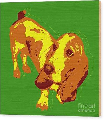 Wood Print featuring the digital art Basset Hound Pop Art by Jean luc Comperat