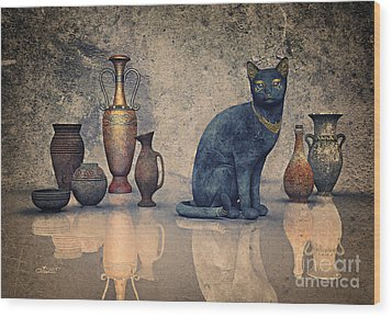 Bastet And Pottery Wood Print by Jutta Maria Pusl