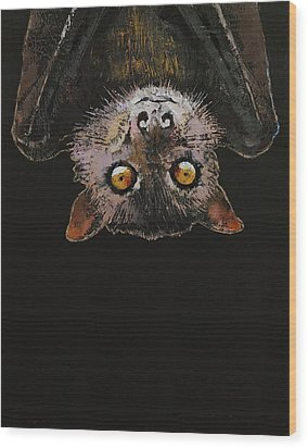 Bat Wood Print by Michael Creese