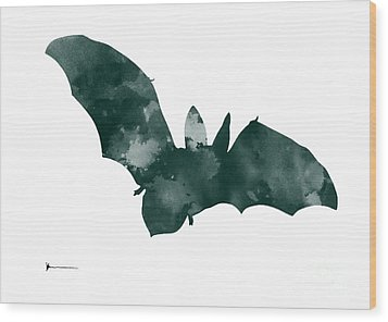 Bat Minimalist Watercolor Painting For Sale Wood Print by Joanna Szmerdt