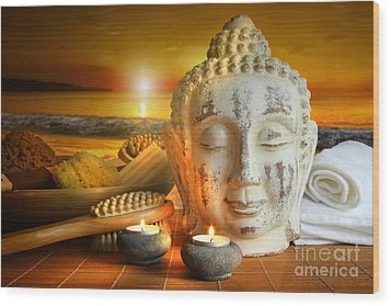Bath Accessories With Buddha Statue At Sunset Wood Print by Sandra Cunningham