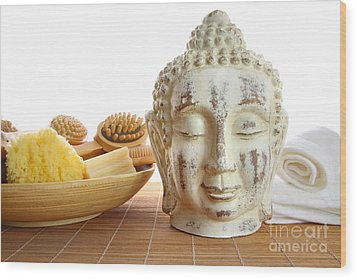 Bath Accessories With Buddha Statue Wood Print by Sandra Cunningham