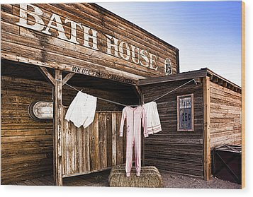 Bath House In Old Tucson Wood Print by Wendy White
