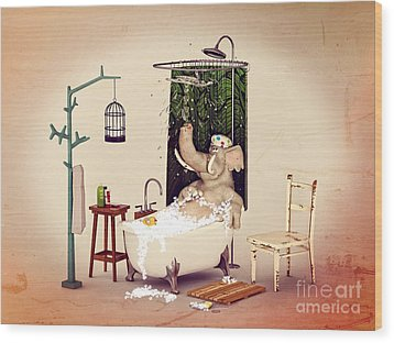 Wood Print featuring the digital art Bath Time by Methune Hively