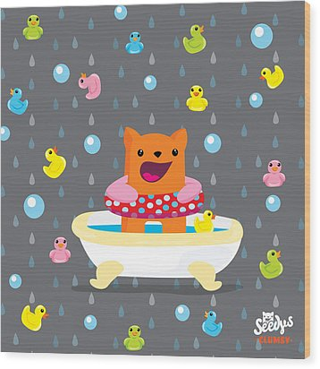 Bath Time  Wood Print by Seedys