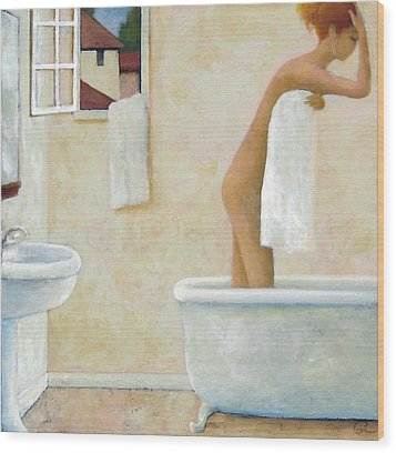 Wood Print featuring the painting Bather by Glenn Quist
