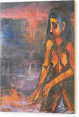 Wood Print featuring the painting Bather by Kenneth Agnello