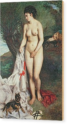 Bather With A Griffon Dog Wood Print by Pierrre Auguste Renoir