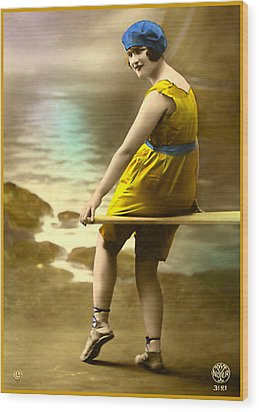 Bathing Beauty In Yellow  Bathing Suit Wood Print