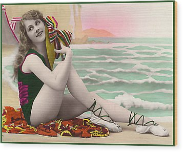 Bathing Beauty On The Shore Bathing Suit Wood Print