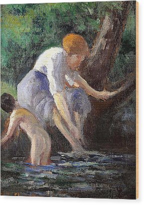 Bathing Wood Print by Maximilien Luce