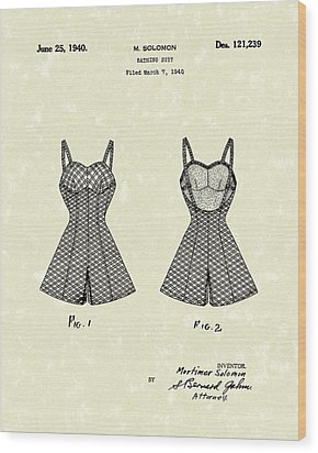 Bathing Suit 1940 Patent Art Wood Print by Prior Art Design