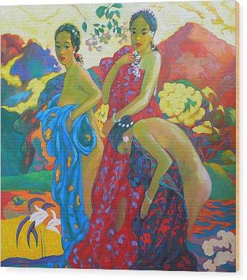 Bathing4 Wood Print by Tung Nguyen Hoang