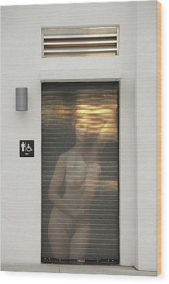 Bathroom Door Nude Wood Print by Harry Spitz