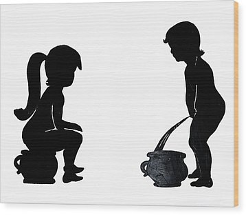 Bathroom Silhouettes Wood Print by Sally Weigand