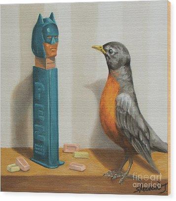 Batman And Robin Wood Print by Judy Sherman