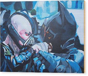 Batman Vs Bane Wood Print by Martin Putsey
