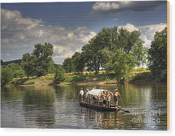 Batteau On The James River Wood Print by Pete Hellmann