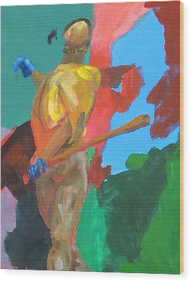 Batter Hitting The Baseball Wood Print by Charles Schuch