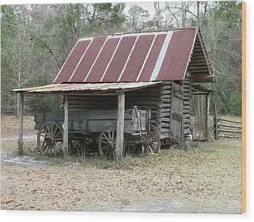 Battered Barn And Weathered Wagon Wood Print by Al Powell Photography USA