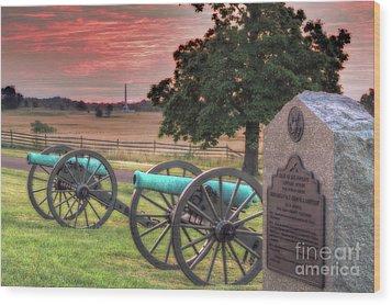 Battery F Cannon Gettysburg Battlefield Wood Print by Randy Steele