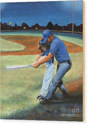 Batting Coach Wood Print by Pat Burns