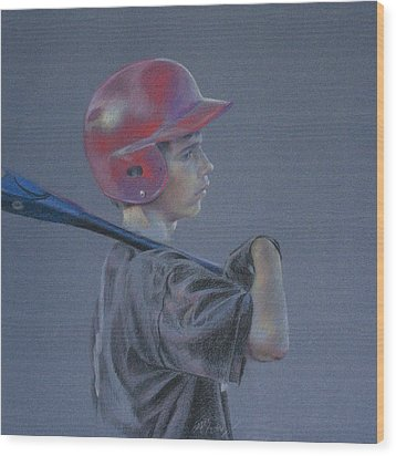 Batting Helmet Wood Print