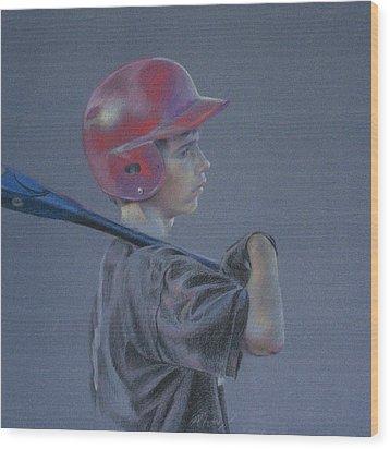 Batting Helmet Wood Print by Linda Eades Blackburn