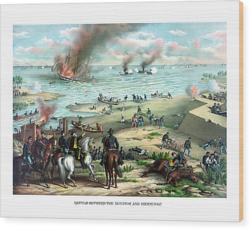 Battle Between The Monitor And Merrimac Wood Print by War Is Hell Store