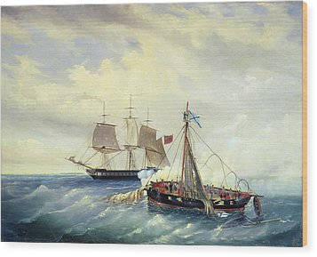 Battle Between The Russian Ship Opyt And A British Frigate Off The Coast Of Nargen Island  Wood Print by Leonid Demyanovich Blinov