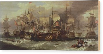 Battle Of Cape St Vincent Wood Print by Sir William Allan